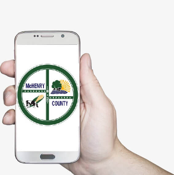 smart phone with McHenry County logo